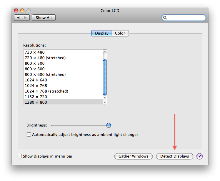 System Preferences - Detect Displays